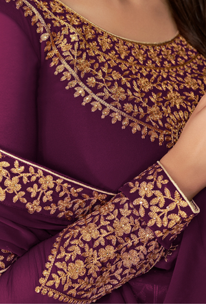 Purple Anarkali Suit