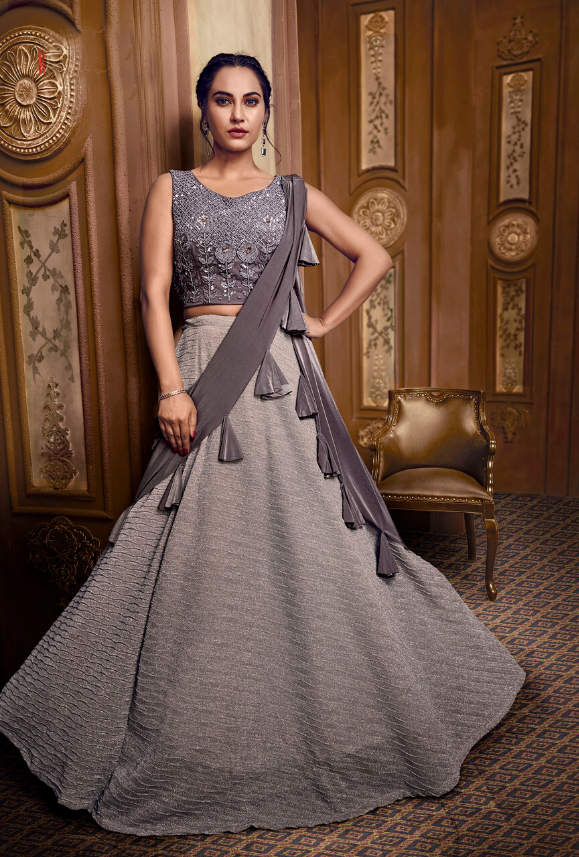 Grey Lehenga Choli - Desi Royale