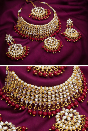 Bridal necklace set with maroon beads - Desi Royale
