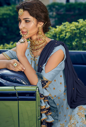 Blue Designer Sharara Suit - Desi Royale