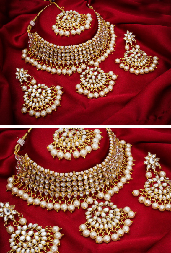 Bridal necklace set with white pearls - Desi Royale