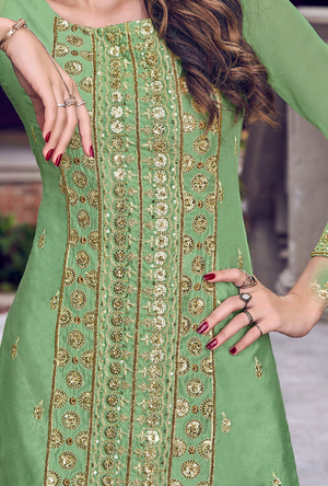 Pista Green gown Suit - Desi Royale