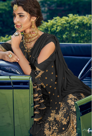 Black Designer Sharara Suit - Desi Royale