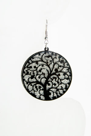 Black filigree circle earrings - Desi Royale