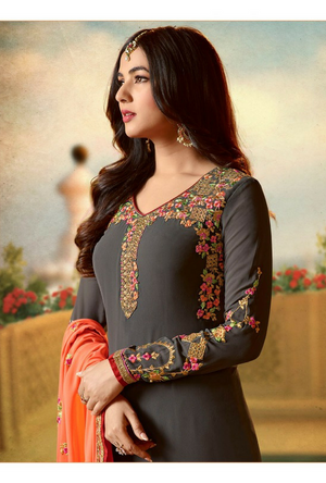 Grey  Embroidered Suit - Desi Royale