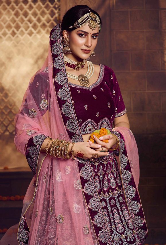 Purple and Pink Lehenga Choli