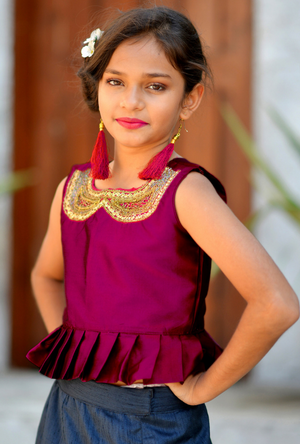 Kids Deep Pink and Blue Lehenga Choli - Desi Royale