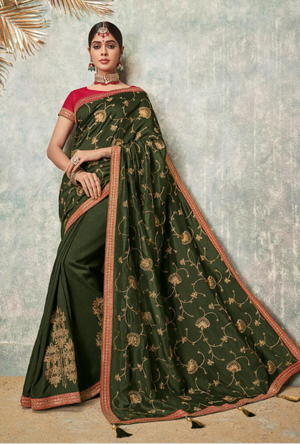 Green and Red Silk Saree - Desi Royale