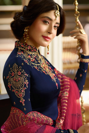 Navy Blue Heavy Salwar Suit - Desi Royale