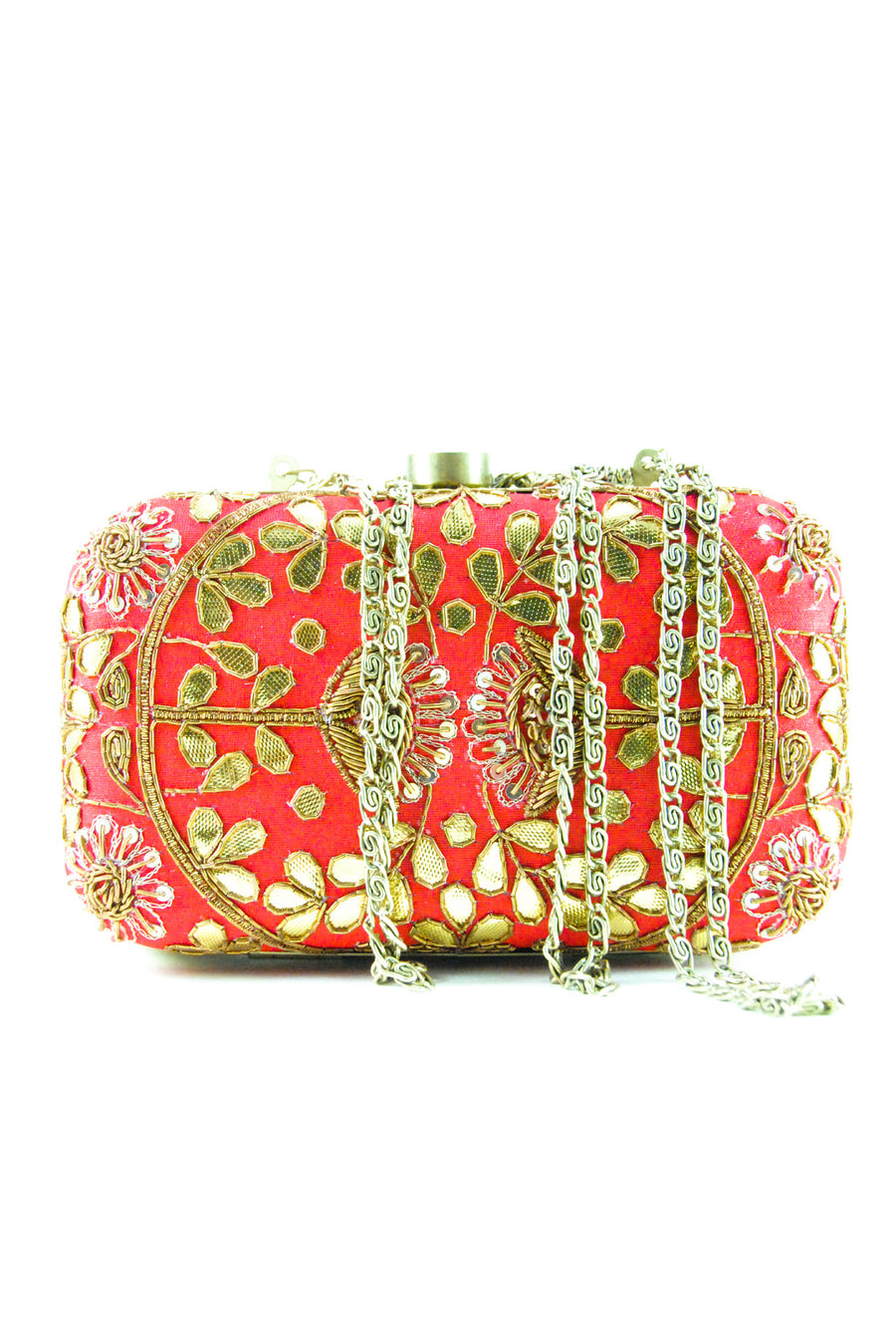 Blood red Gotta Patti Clutch - Desi Royale