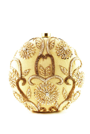 Beige Gold Embroidered Round Clutch bag - Desi Royale