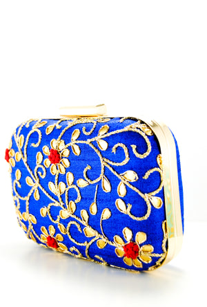 Royal Blue Gotta Patti Clutch - Desi Royale