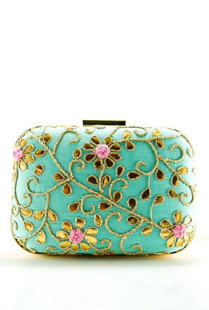 Turquoise Pink Gotta Patti Clutch - Desi Royale