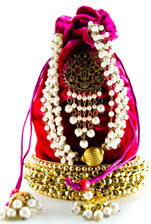 Hot Pink Wedding Potli bag - Desi Royale