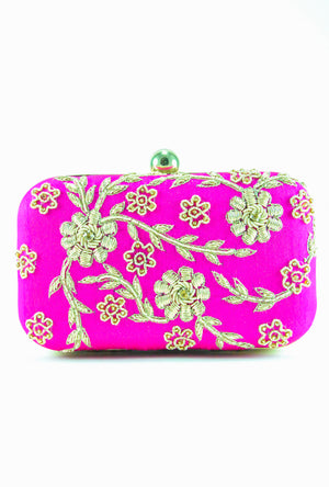 Pink Zardozi Flower Clutch - Desi Royale