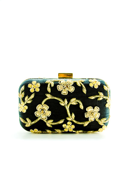 BLACK ZARDOZI FLOWER CLUTCH