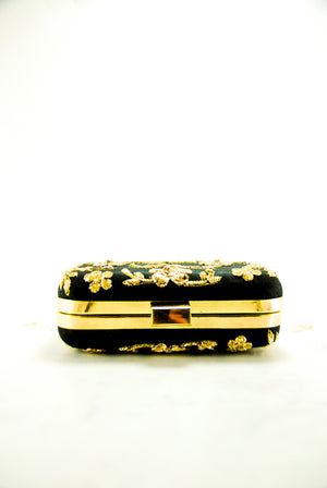 Black Zardozi Flower Clutch - Desi Royale