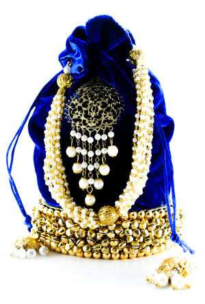 Blue Wedding Potli bag - Desi Royale