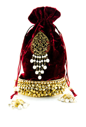 Burgundy Wedding Potli bag - Desi Royale