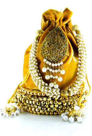 Mustard Gold Wedding Potli bag - Desi Royale