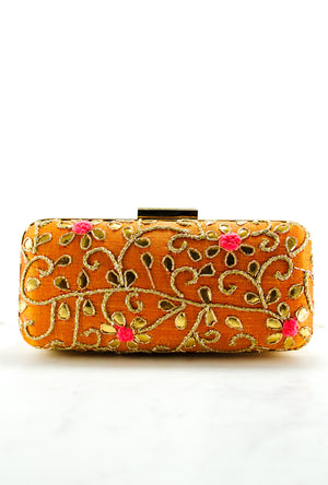 Orange gold Gotta Patti Clutch - Desi Royale