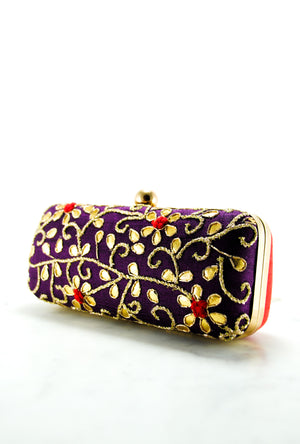 Purple Gotta Patti Clutch - Desi Royale