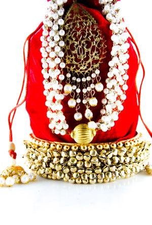 Red Wedding Potli bag - Desi Royale