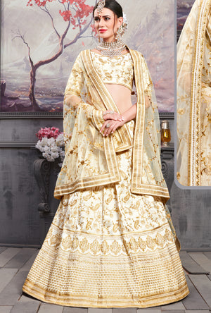 Cream Silk Lehenga Choli - Desi Royale