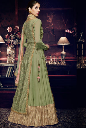 Pista Green  Designer Dress - Desi Royale