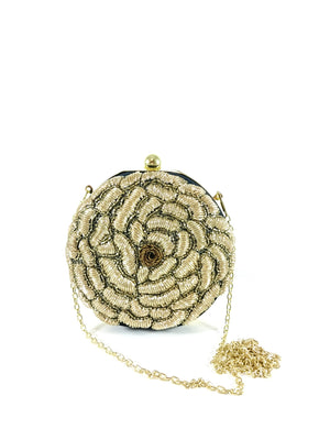 Gold Flower Clutch - Desi Royale