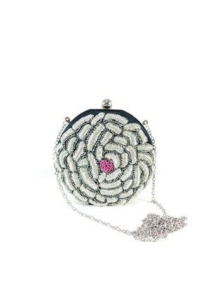 Silver Flower Clutch - Desi Royale