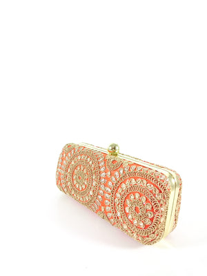 Orange Mandala Clutch - Desi Royale
