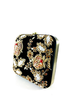 Black Zardozi clutch - Desi Royale