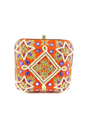 Orange Samsara Clutch - Desi Royale