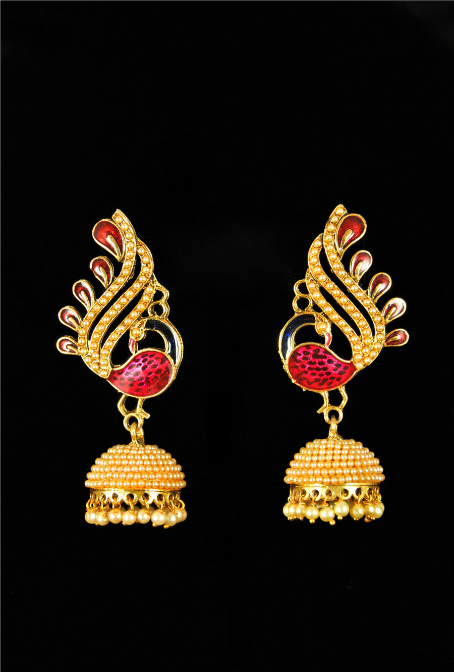 Antique peacock jhumki earrings with pearls - Desi Royale