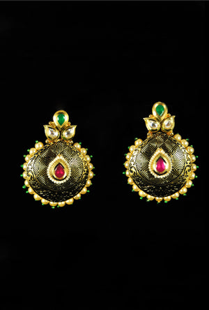 Elegant paan katori style earrings - Desi Royale