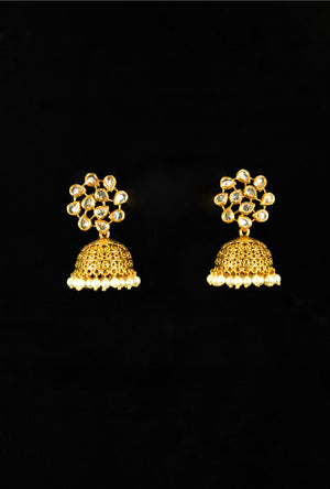 Antique leaf web earrings with pearl drops - Desi Royale