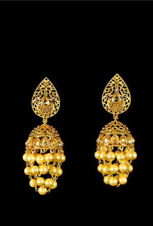 Elegant multi layer bell drop earrings - Desi Royale