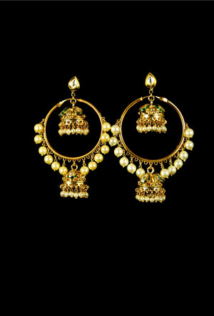 Elegant jhumki drop kundan earrings - Desi Royale