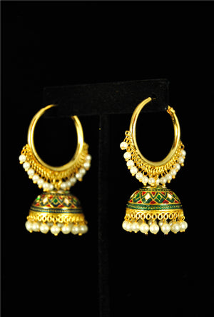 Designer antique bali with pearls - Desi Royale