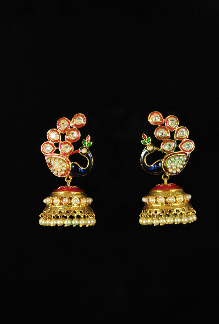 Traditional peacock style earrings with jhumki - Desi Royale