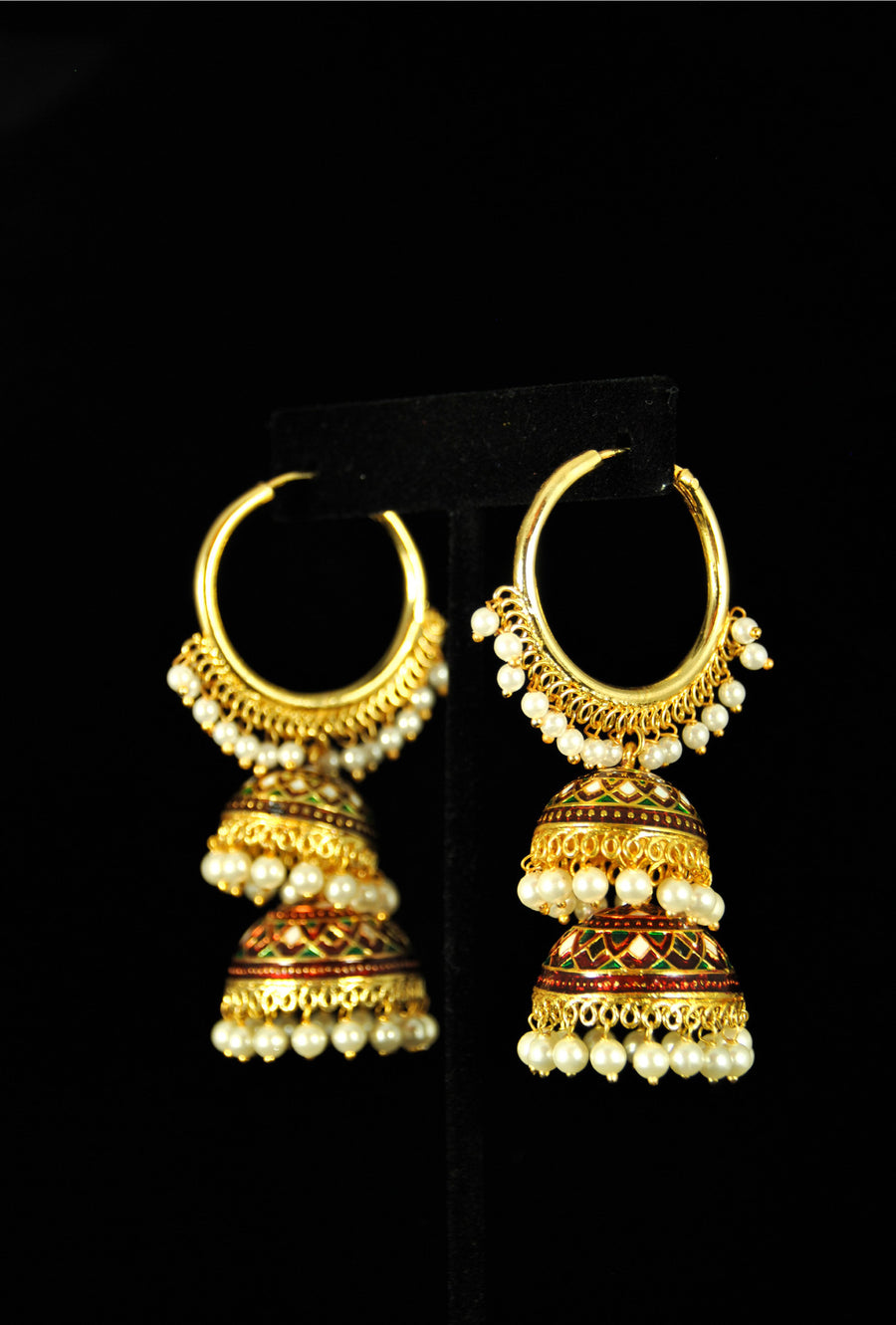 Designer double layer antique bali with pearl drops - Desi Royale