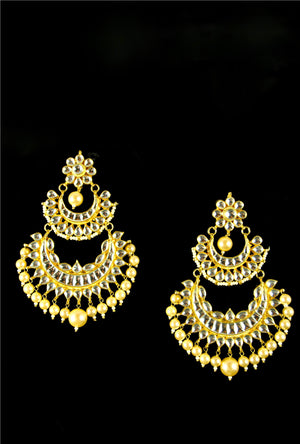Ethnic double layer kundan earrings - Desi Royale