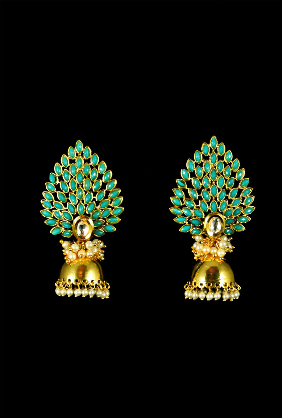 Ethnic mor pankh jhumki earrings - Desi Royale