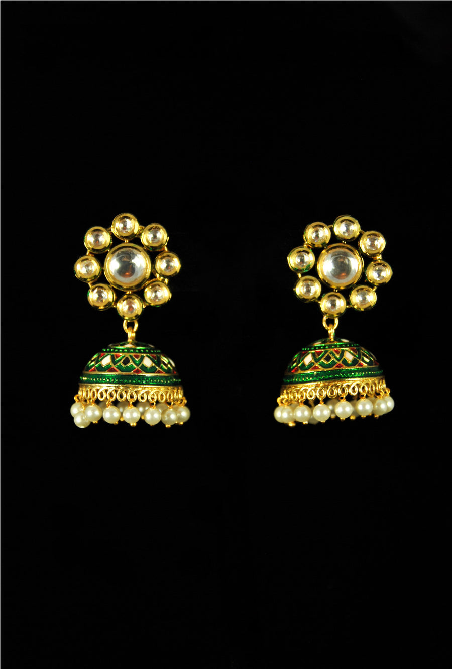 Designer flower kundan earrings with pearl drops - Desi Royale