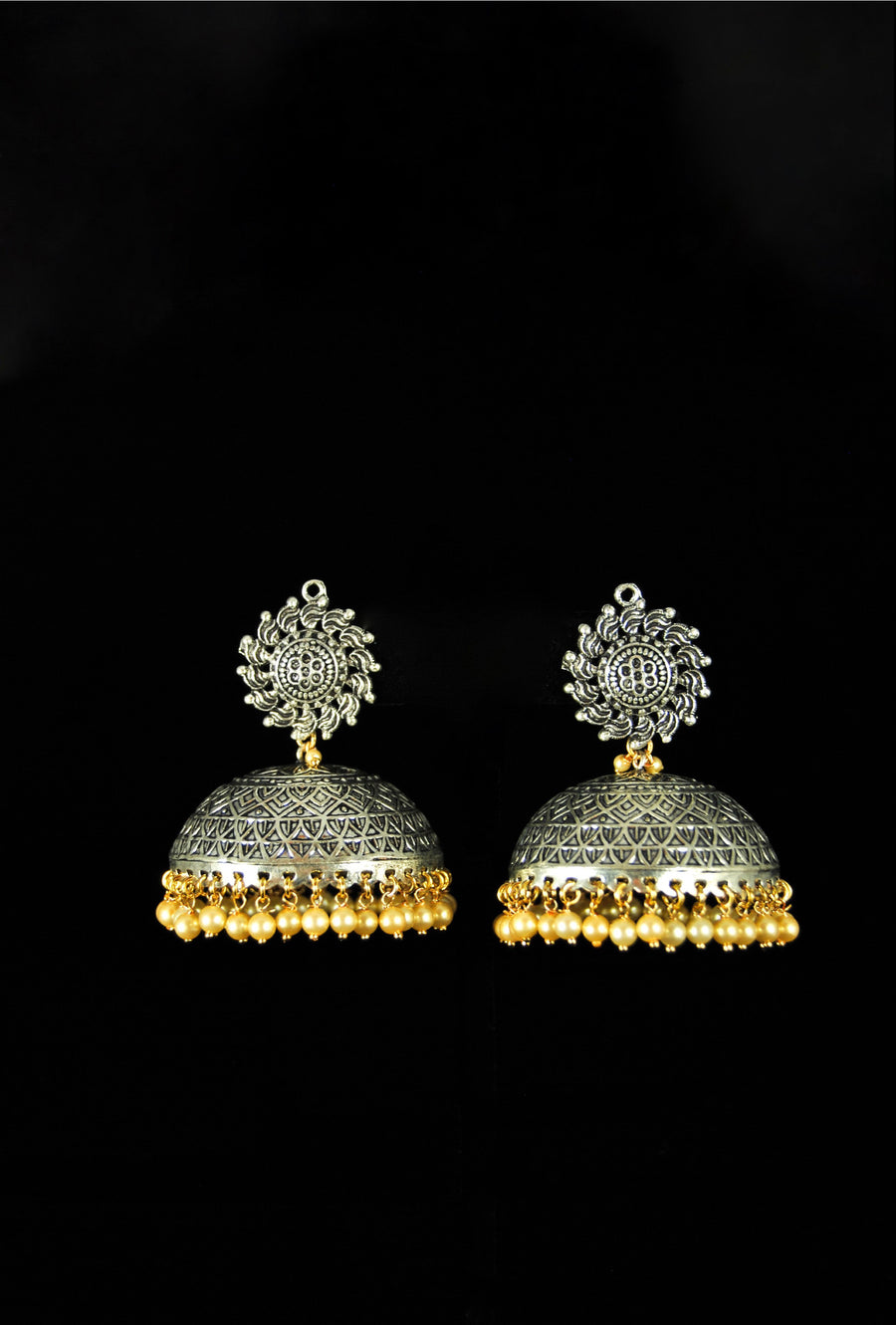 Elegant sunflower jhumki earrings - Desi Royale