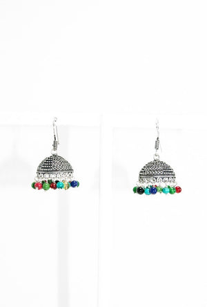 Black metal earrings with multicolour beads - Desi Royale