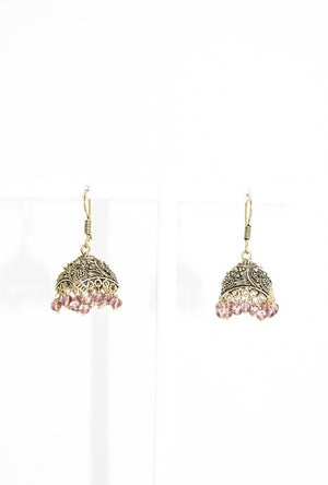 Gold Metal earrings with purple beads - Desi Royale