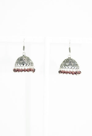 Black metal umbrella earrings with  beads - Desi Royale