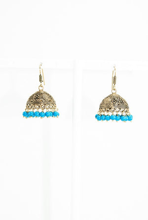 Gold earrings with turquoise blue beads - Desi Royale